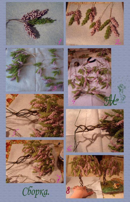 Схема плетения дерева из бисера глициния