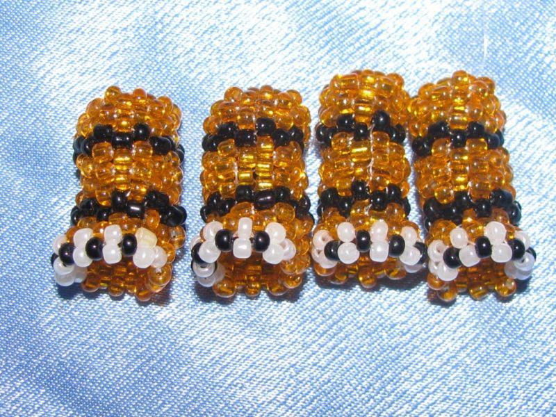 Игрушка тигр из бисера (правила плетения, схема плетения) .