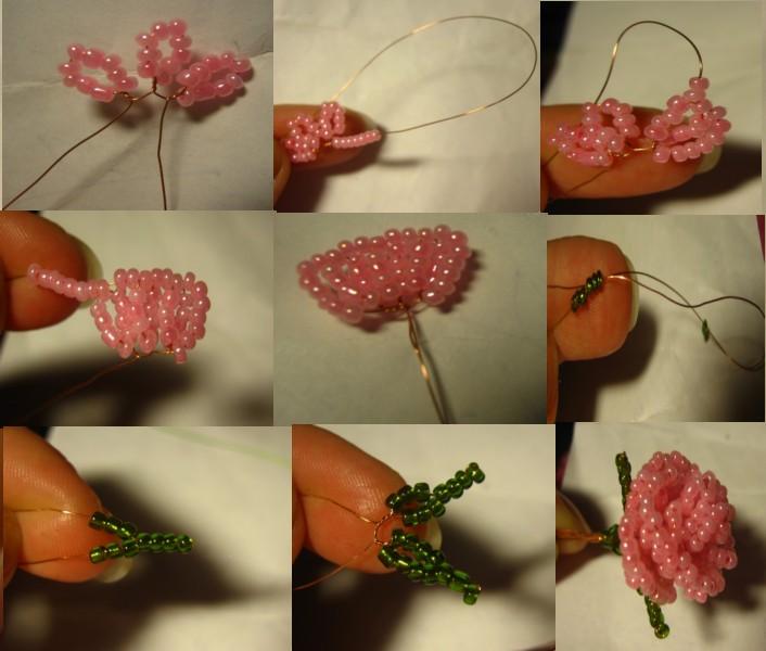 Как сделать розу с бисером